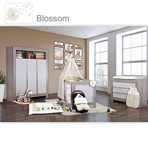 Babyzimmer Felix in akaziengrau 21 tlg. mit 3 türigem Kl. + Blossom in Beige