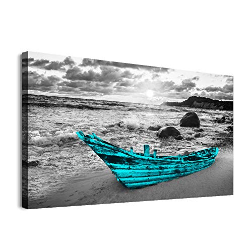 Canvas Wall Art for kitchen family Living Room Wall decor modern Black and white seaview painting farmhouse Bedroom bathroom Decoration ship Blue Boat canvas pictures Artwork for home walls 20x28 inch