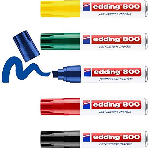 edding 800 Permanentmarker - mehrfarbig - 5 Stifte - Keil-Spitze 4-12 mm - für breite Markierungen - wasserfest, schnell-trocknend, wischfest - für Karton, Kunststoff, Holz, Metall, Glas