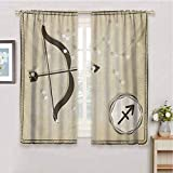 GUUVOR Zodiac Sagittarius Heat Insulation Curtain Hand Drawn Constellation with Silhouette of a Bow and Arrow for Living Room or Bedroom W54 x L63 Inch Eggshell Dark Taupe