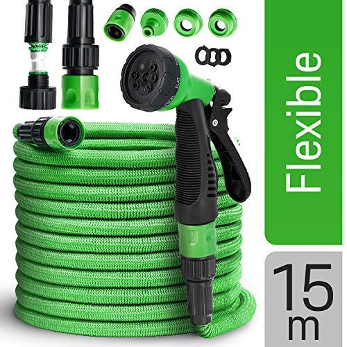 tillvex flexiSchlauch - Flexibler Gartenschlauch 15m ausgedehnt, Testurteil GUT, verbesserte Version 2019, Wasserschlauch flexibel, Gartenteichschlauch dehnbar, grün