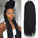 Mambo Twist Crochet Hair for Black Women 6 Packs Bestlove Havana Twist Crochet Braid Hair for Kids 18 Inch Senegalese Twist Crochet Braids Hair Extensions for Women Pre Loop 13Roots/Pack (18 Inch, 1B)