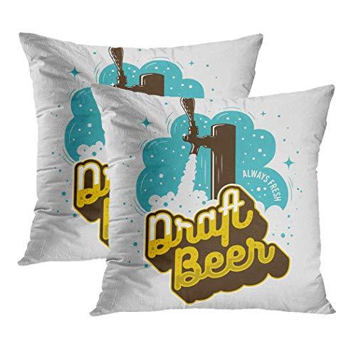 2er-Set Kissenbezüge Square Draft Beer Tap Foam Cartoon Style Weizenkissen Home Decor Sofa Schlafzimmer Büro Polyester Kissenbezug