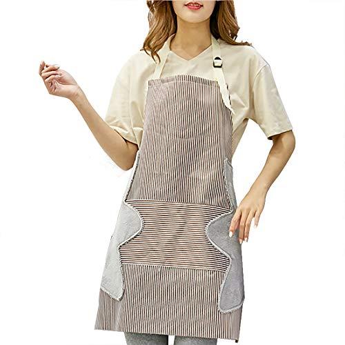 Delantal de cocina WishLotus Chef, delantal de cocina ajustable, duradero, resistente al agua y al aceite, a rayas, cinturón de moda resistente con bolsillo grande de terciopelo coral toalla delantal