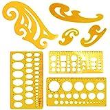Plantillas de dibujo de 7 piezas de arquitectura, regla de curva francesa para estudio artístico, oficina y escuela, reglas de dibujo para construcción de formación, color naranja claro