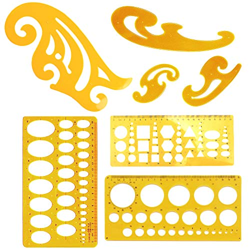 7 STK teiliges französisches Kurven- und Schablonenlineal, Werkzeugset für Kunststoff Zeichnungen, Messvorlagen für Büro und Schule, geometrische Lineale zum Zeichnen, Schalungen Bauen