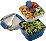 MUJUZE Lunch Box aveccompartiment de Subdivision,Boite Repas Adultes / Enfants,Bento Lunch Box Durable,Lunch Box Salade Boîtes Repas Micro Onde Pour Les voyages école / travail / pique-nique (blue)
