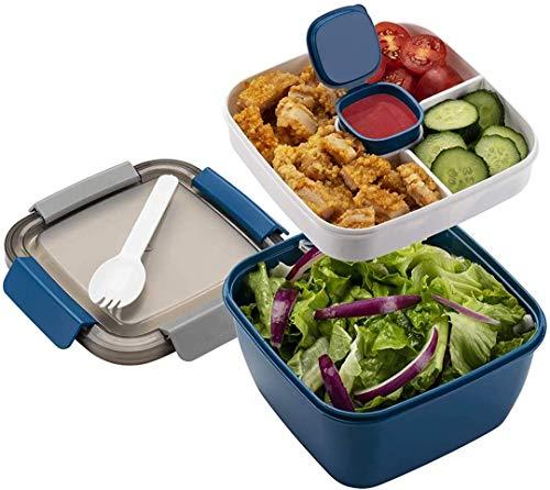 MUJUZE Lunchbox mit unterteilung fächern,Brotdose Erwachsene/Kinder,Nachhaltig Auslaufsicher Spülmaschinenfest Brotbox, Brotzeitbox Kindergarten,Bentobox für Schule/Arbeit/Picknick Reisen(Blue)