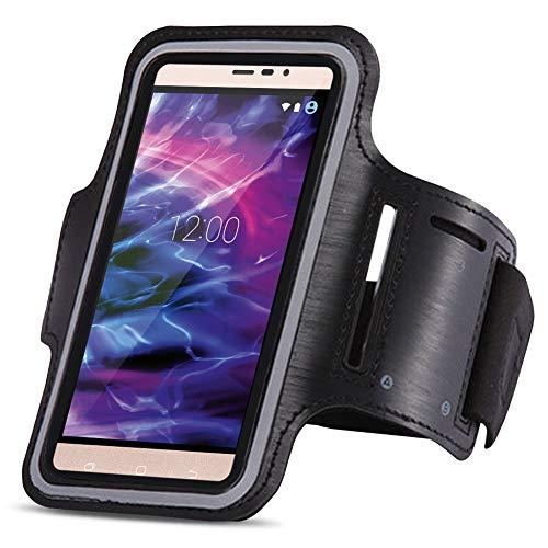 Medion Life X6001 Jogging Tasche Handy Hülle Sportarmband Fitnesstasche Lauf Bag, Farben:Schwarz
