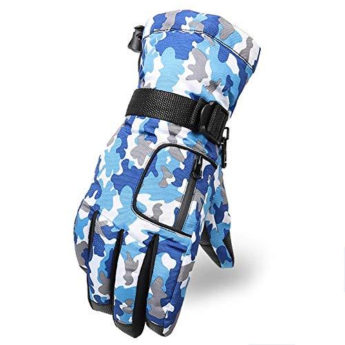 LYJNBB Gants de Ski imperméables, pour Hommes avec Poche Gants Thermiques pour l'hiver, Convient aux Hommes Ski Alpin Snowboard Vélo Escalade Sports de Plein air, 4 Couleurs,Blue