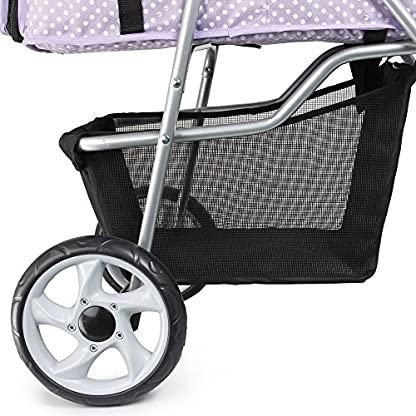 Flexzion Pet Stroller Dog Cat Small Animals Carrier Cage 4 Wheels Folding Flexible Easy Walk For Jogger Jogging Travel Up To 30 Pounds With Rain Cover Cup Holder And Mesh Window 1 Dot Purple 3