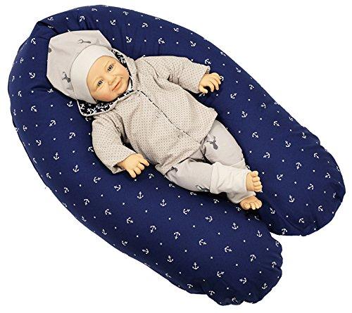 Sharlene Stillkissen aus Baumwolle mit Bezug - Schadstoffgeprüftes Lagerungskissen - Mikro-Perlen Baby Kissen - Seitenschläferkissen (185 cm, Dunkelblau)