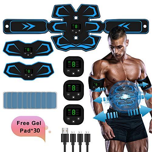 TouchSKY EMS Muskelstimulation Elektrostimulation,ABS Stimulator Bauchtrainer Trainingsgerät, 3 in 1 USB Aufladung Muskelstimulator Elektrische Bauchmuskeltrainer Für Männer Frauen Gewicht Abnehmen