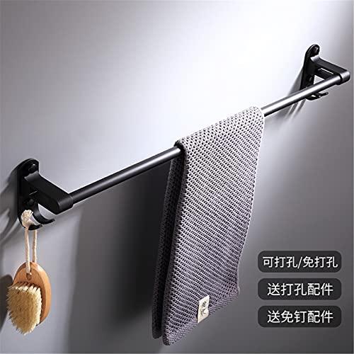 Toallero de 2 niveles, color negro, toallero de aleación de aluminio, barra de toalla sin perforación, para cocina, baño, inodoro, hotel, individual