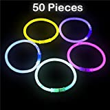 Kicko Glow Sticks Bracelets Wrist Bands, 50 Lumi Sticks with 50 Connectors in a Compact Tube - 8 Inch Light-up Sticks in Assorted Brilliant Colors - Toys and Games, Novelty and Gag Toys
