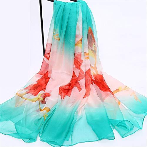 xinxin24 Schal Damen Wildschal Langer Super Strandschal Schal mit doppeltem Verwendungszweck, blau grüne rote Lilie