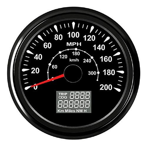 Velocímetro cuentakilómetros 85mm GPS Velocímetro Medidor 200 mph viaje Contador cuentakilómetros de coches de carreras de motos 9-32V (Color : 200MPH BN, Size : Gratis)