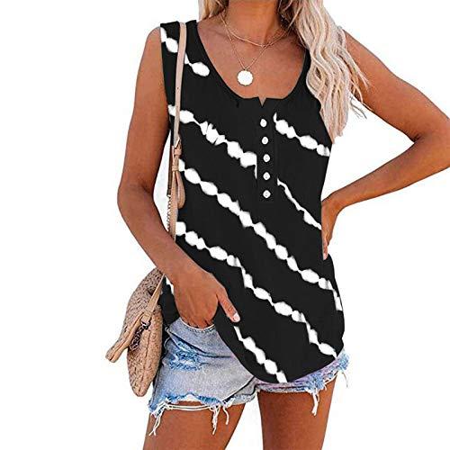 MARTINSHARK Camiseta de verano para mujer, diseño de rayas, básico, sin mangas, cuello redondo, blusas femeninas y chicas adolescentes Negro XXL