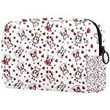 Bolsa de maquillaje con diseño de corazones rojos, bolsa de maquillaje, organizador para viajes, portátil, neceser para niñas, mujeres