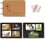 Zetong Álbum Fotos para Pegar y Escribir con Papel Kraft 60 Páginas 30 Hojas Negras Duras 27 x 19.5 cm + Pegatinas