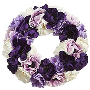 14″ Silk Anemone Flower Hanging Wreath -Assorted (Pack of 2)