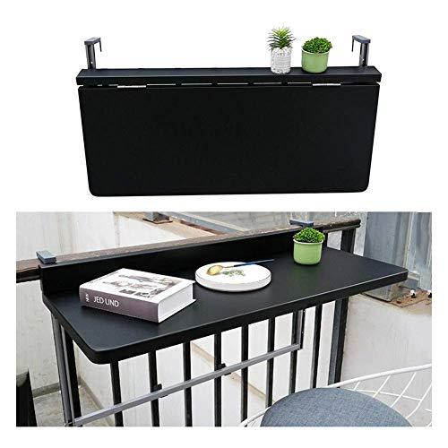 XCJJ Mesa colgante de barandilla de balcón, mesa de ordenador plegable para exteriores, mesa de centro de patio con soporte de flores para terraza creativa, 2 tamaños,Negro,Los 80 * 40cm