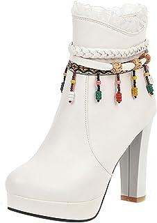 RizaBina Women Fashion High Heels Short Boots Zipper