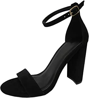 Women's Single Band Buckled Open Toe Ankle Strappy Chunky Block Heel Sandal