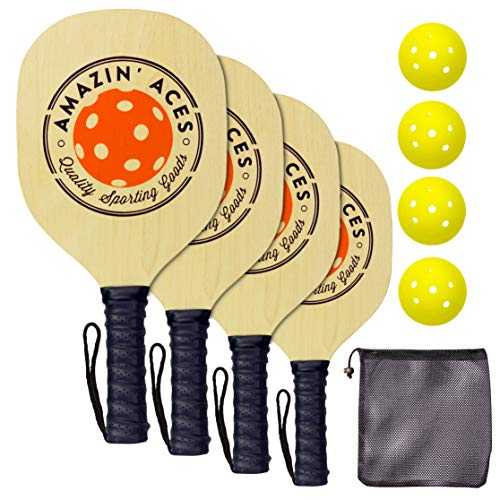 Amazin' Aces Pickleball Paddle Set Pickleball Set Includes 4 Wood Pickleball Paddles, 4 Pickleballs, 1 Carry Bag & Guaranteed Fun! | Beginner-Intermediate Racket | Includes Free eBook