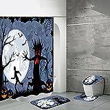 Juego de 4 cortinas de ducha de Halloween con alfombras antideslizantes, tapa de inodoro y alfombrilla de baño, material de poliéster, juego de baño para decoración de Halloween del hogar