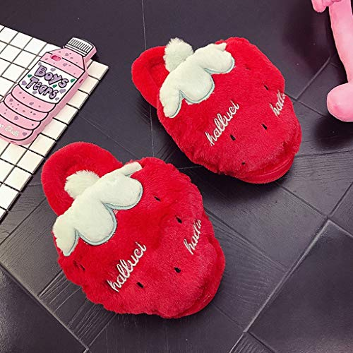 DYXYH Zapatillas De Piel De Invierno para Mujer, Zapatillas Planas De Felpa para Mujer, Zapatos Cómodos Cálidos para Interior, Calzado De Plataforma Informal para Mujer (Color : Red, Size : 37)