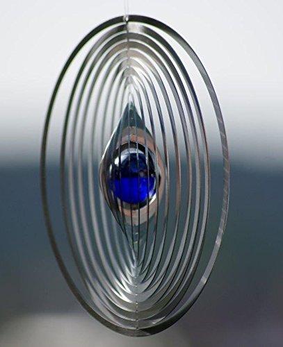 A2003 – steel4you hochwertiges 3D Windspiel aus Edelstahl mit Glasperle – Kreis 15cm x 15cm – made in Germany - 3