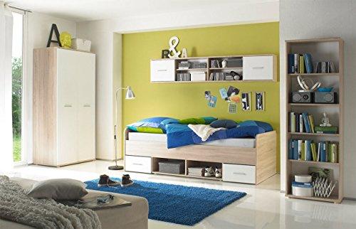 lifestyle4living Jugendzimmer Komplett-Set in Eiche-Dekor und weiß, 4-teilig für Mädchen und Jungen mit Kleiderschrank, Bett und 2 Regalen