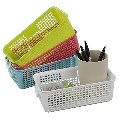 Gitany Kunststoff-aufbewahrungskörbe 4 Stück, Körbchen aus Plastik, Rechteckig Haushaltskorb Klein