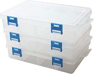 BangQiao 3 Pack Plastic Parts Storage case and Adjustable Divider Box for Hardware and Craft, 8 Grids, Clear