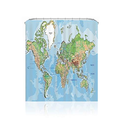 BANGSUN Duschvorhang mit Weltkarten-Muster für Badezimmer, Polyester, schmal, Blau
