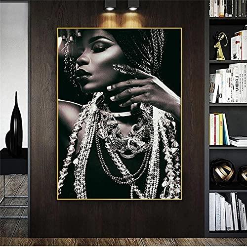 LZASMMVP Retrato de Mujer Africana con joyería Arte de la Pared Arte de la Mujer Negra Pintura al óleo Cartel Mural y Lienzo Impreso Decoración de la Sala de Estar | 60x80cm Sin Marco