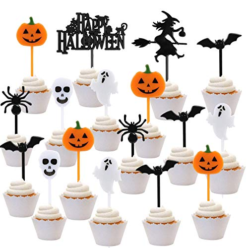 iZoeL 108pcs Halloween Cupcake Topper Tortendeko Spicker Muffin Picker mit Motiven Geister Spinne Skull Fledermaus Kürbis Cocktail Spieße Tortentopper