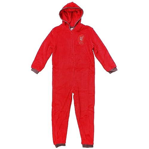 cf844bebd3fb L.F.C Mens Official Liverpool Hooded Fleece Zipper Sleepsuit Onesie Romper  Sizes S M L XL Red