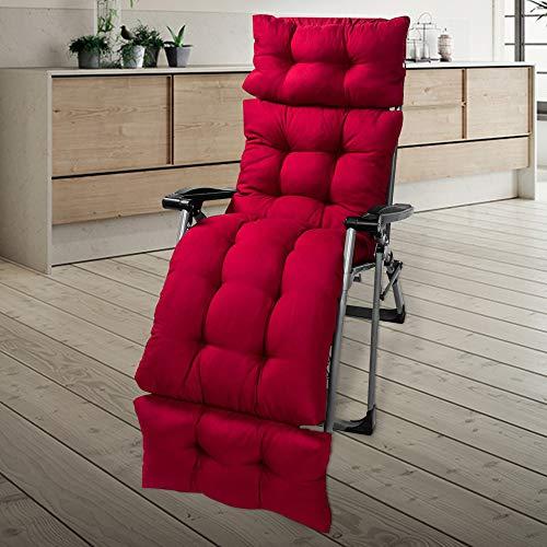 Coussin Chaise Longue Bain de Soleil Coussin de Chaise Longue Jardin Extérieur pour Transat de Jardin Lounge Coussin (Vin Rouge)
