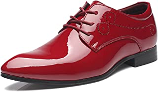 Men's Shoes-Men's Burnished Smooth PU Leather Shoes Classic Lace Up Business Tuxedo Oxfords (Color : Red, Size : 42 EU)