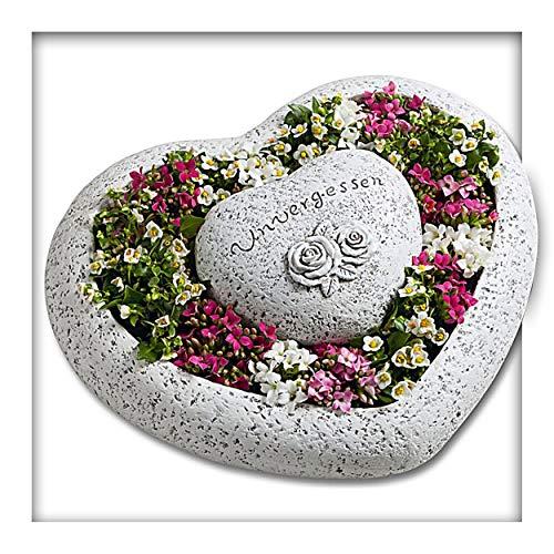 Pflanzengefäß Herz Grabschmuck Unvergessen Pflanzschale Grabvase Blumenschale