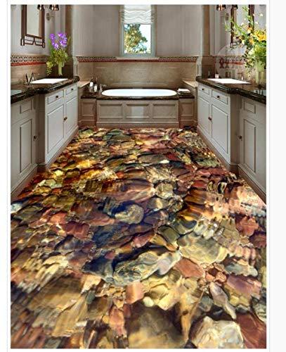 Rutschfeste wasserdichte selbstklebende PVC-Tapete Pool farbige Steine Bodenfliesen Modern Custom 3D Bodenbild 200x140cm