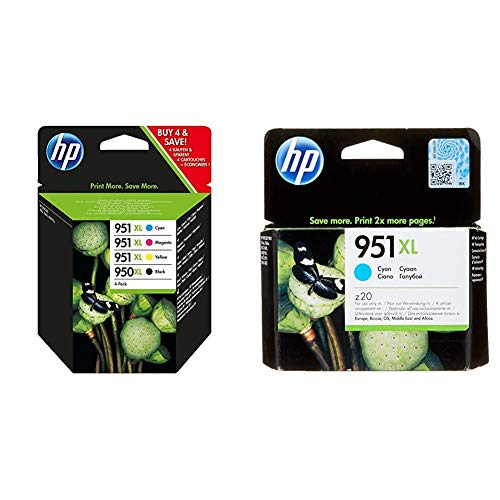 HP 950XL-951XL C2P43AE Negro, Cian, Amarillo y Magenta, Cartucho de Tinta de Alta Capacidad Original + 951XL CN046AE Cian, Cartucho de Alta Capacidad Original, de 1.500 páginas