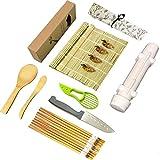 Sushi Making Kit ,Full Sushi Set with Sushi Bazooka Maker, Natural Bamboo Sushi Mats, Chopsticks Rice Paddle Spreader, Avocado Slicer, Sushi Knife -16 PACK