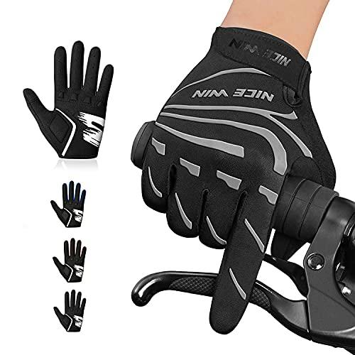NICEWIN Vollfinger Fahrradhandschuhe für Herren Damen,Atmungsaktiv Radsporthandschuhe MTB Handschuhe Stoßdämpfende Touchscreen für Rennrad Mountainbike Motorräder