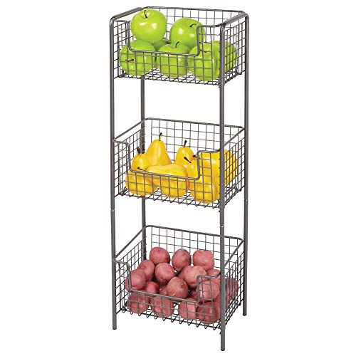 mDesign 3 Tier Vertical Standing Kitchen Pantry Food Shelving Unit - Decorative Metal Storage Organizer Tower Rack with 3 Basket Bins to Hold and Organize Fruit Potatoes Snacks - Graphite Gray