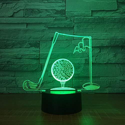 Golfclub 3D illusie lamp drie patronen en 7 kleurveranderende decoratieve lamp - perfecte cadeaus voor kinderen