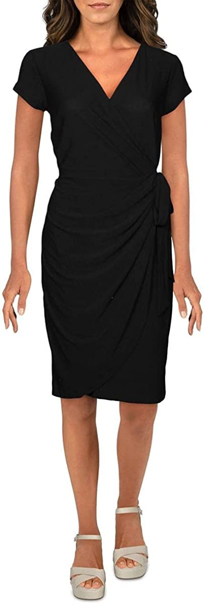 INC Womens Cocktail Party Wrap Dress Black S