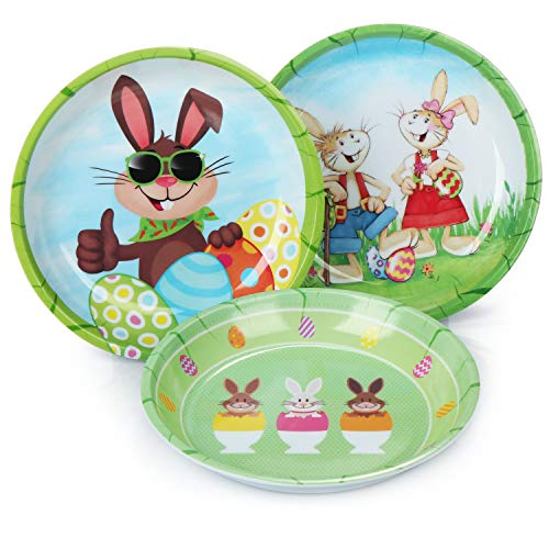 COM-FOUR® 3x paasborden van melamine - decoratieve borden voor Pasen - paasmandje met verschillende paashazen en paasei-motieven [selectie varieert] (03 stuks - Paasbord)